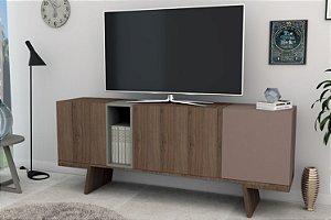 Rack Aparador Para Tv Com 3 Portas Nobu - Nogueira Nostalgia