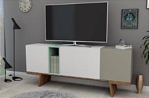Rack Aparador Para Tv Com 3 Portas Nobu - Branco Marguerita