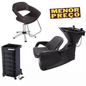 Kit Salão Cadeira Primma + Lavatório Champ + Carrinho Dompel
