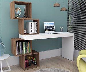 Mesa Escrivaninha Com 4 Nichos Liv - Branco Castanho