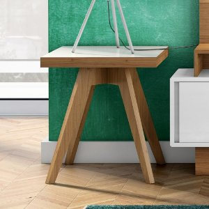 Mesa Lateral Quadrada MDF - Freijo/Off White