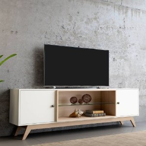 Rack para TV 2 Portas em MDF - Off White e Natural