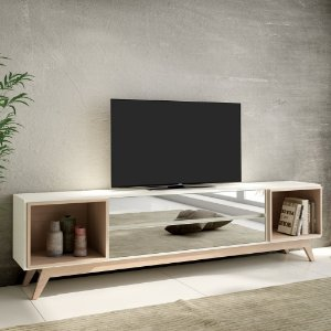 Rack para TV 2 Gavetas Espelhadas em MDF - Off White e Natural