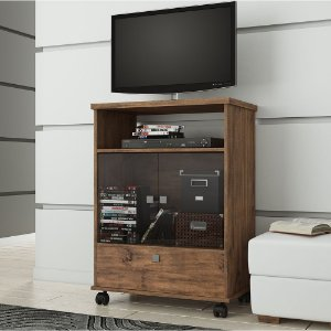 Rack para TV 1 Gaveta 2 Portas de Vidro em MDF - Nobre Fosco