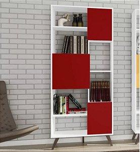 Estante Para Livros Aberta Movelbento Rt3039 Retrô - Branco / Vermelho