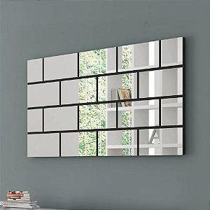 Painel Decorativo com Espelhos Quadriculados - Preto