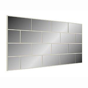 Painel Decorativo com Espelhos Quadriculados - Off White
