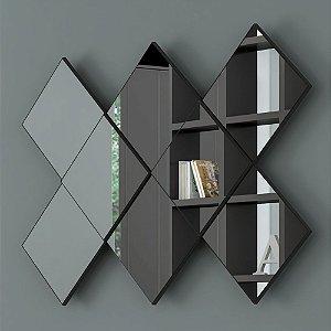 Painel Espelho Decorativo Quadriculado em MDF - Preto