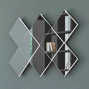 Painel Espelho Decorativo Quadriculado em MDF - Off White