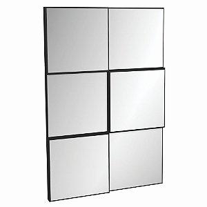 Painel Decorativo Quadriculado Espelhado MDF - Preto