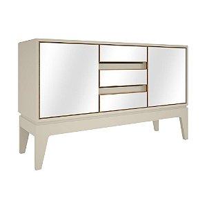 Balcão Buffet 2 Portas 3 Gavetas com Espelhos em MDF - Off White Freijo