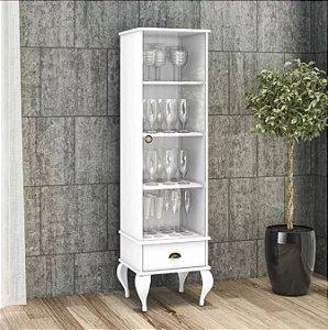 Cristaleira Clássica Provençal 1 Porta De Vidro E 1 Gaveta - Branco