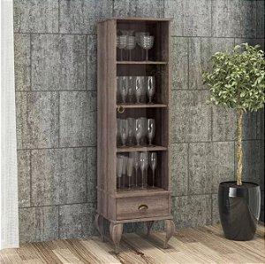 Cristaleira Clássica Provençal 1 Porta De Vidro E 1 Gaveta - Rústico