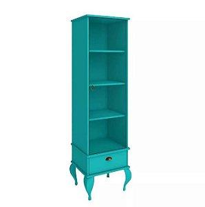 Cristaleira Clássica Provençal 1 Porta De Vidro E 1 Gaveta - Azul Turquesa