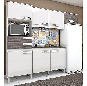 Cozinha Compacta Brizz Com 7 Portas 2 Gavetas - Branco Gris