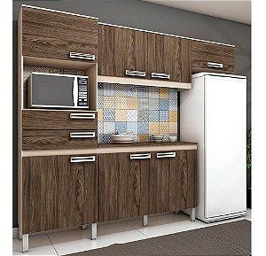 Cozinha Compacta Brizz Com 7 Portas 2 Gavetas - Fendi com Moka