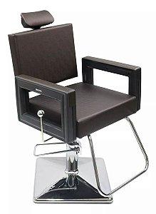 Poltrona Cadeira Reclinável P/ Barbeiro Maquiagem Salão - Marrom