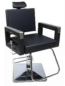 Poltrona Cadeira Reclinável P/ Barbeiro Maquiagem Salão - Preta