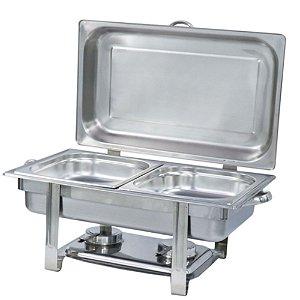 Estufa Rechaud de Alimentos Retangular Buffet Premium 2 cubas - Inox