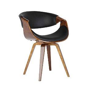 Cadeira Poltrona Nicole Assento E Encosto Estofado Em Pu - Preto