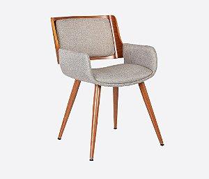Cadeira Poltrona Sônia Com Braço Em Madeira Nogueira - Linho Marrom/Mescla