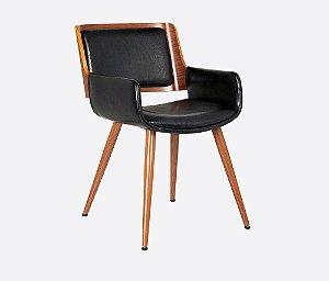 Cadeira Poltrona Sônia Com Braço Em Madeira Nogueira - PU Preto