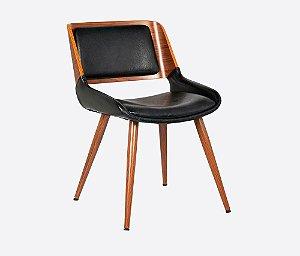 Cadeira Poltrona Sueli Madeira Nogueira Assento E Encosto Pu - Preto