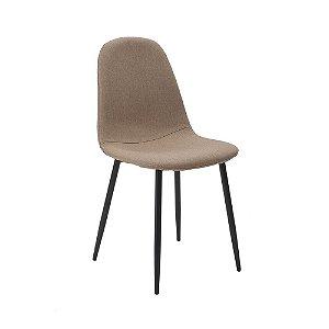 Cadeira Tânia Pés Em Metal Assento Madeira Tecido - Linho Caqui / Escura