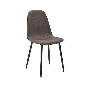 Cadeira Tânia Pés Em Metal Assento Madeira Tecido - Linho Marrom / Escuro