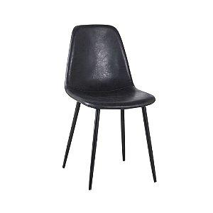 Cadeira Tânia Pés Em Metal Assento Madeira Tecido - PU Preto/Preta