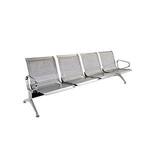 Banco Cadeira Longarina Sala De Espera Inox Com 4 Lugares