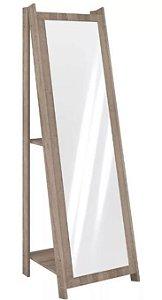 Espelho De Chão Com 2 Prateleiras Retrô 161cmx50cm - Rústico