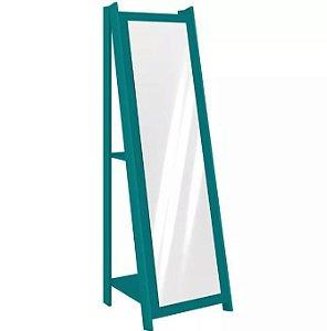 Espelho De Chão Com 2 Prateleiras Retrô 161cmx50cm - Azul Turquesa