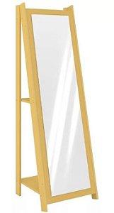 Espelho De Chão Com 2 Prateleiras Retrô 161cmx50cm - Amarelo