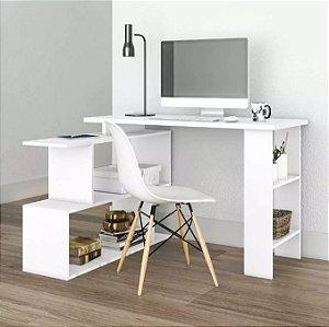 Mesa Para Computador Escrivaninha 4 Nichos Design Branca