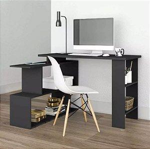 Mesa Para Computador Escrivaninha 4 Nichos Design Preto