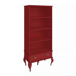 Armário Estante Para Livros Clássica Provençal 1 Gaveta - Vermelho