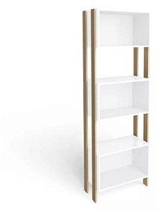 Estante Armário Para Livro 3 Nichos Design - Branco / Nature