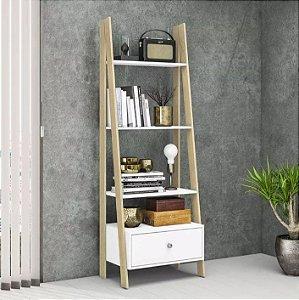 Estante Escada Aberta Para Livros 1 Gaveta Retrô Design - Branca / Nature