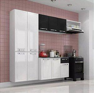 Cozinha Aço Branca Compacta C/ Tampo Armário Aéreo Gabinete Preto Branco