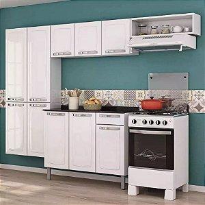Cozinha Aço Branca C/ Gabinete Tampo Armário Aéreo - Rose