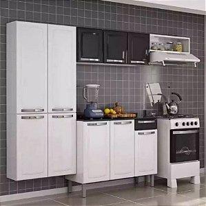 Cozinha Aço Branca C/ Gabinete Tampo Armário Aéreo - Rose Preta