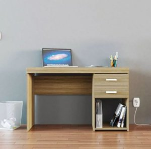 Mesa Para Escritório Computador 2 Gavetas 1 Nicho Malta Castanho