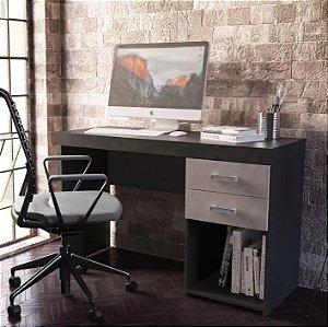 Mesa Para Escritório Computador 2 Gavetas 1 Nicho Malta Preto Cinza