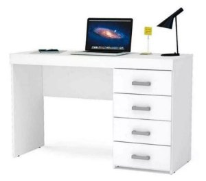 Mesa Para Escritório Computador 4 Gavetas Malta Branco