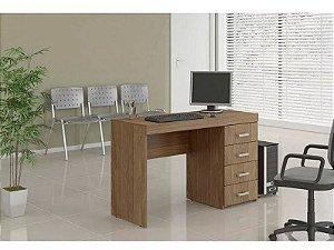 Mesa Para Escritório Computador 4 Gavetas Malta Castanho