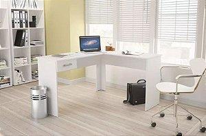 Mesa de Escritório em L para Computador 1 Gaveta Fênix Branco