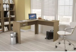 Mesa de Escritório em L para Computador 1 Gaveta Fênix Castanho