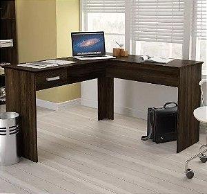 Mesa de Escritório em L para Computador 1 Gaveta Fênix New Avelã