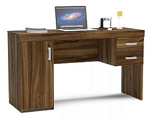 Mesa para Computador Escrivaninha 1 Porta e 2 Gavetas Miranda New Avelã